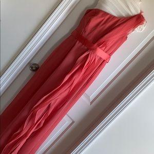 Coral one shoulder formal dress.